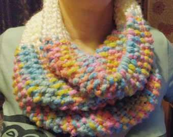 Hand knitted multicoloured infinity scarf