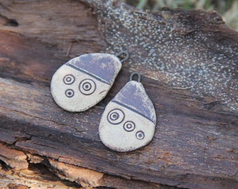 A pair of stoneware pendants, RUSTIC and EARTHY ceramic beads - handmade jewelry components