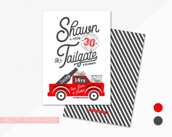 Tailgate Birthday Invitation | Football Party Invitation | Digital Printable Tailgate Invite | Adult Birthday - 5X7 w/ *bonus reverse side*