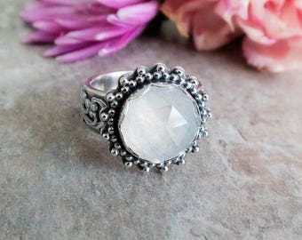 Rainbow Moonstone Ring, Faceted Moonstone Ring, Gemstone Ring, Sterling Silver, Victorian Ring, Handmade Everyday Ring, Rosecut Moonstone