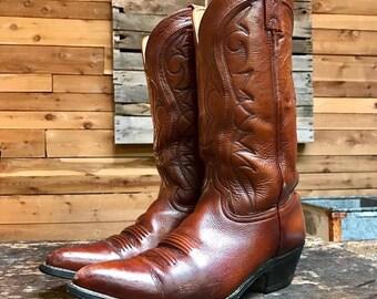 Vintage Western Boots Vtg Brown Leather Cowboy Boots Men's Size 10