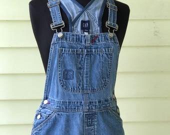 Gap Vintage Bib Overalls Blue Denim Women's Small Medium 1990s Farmer Grunge Boho Medium Wash