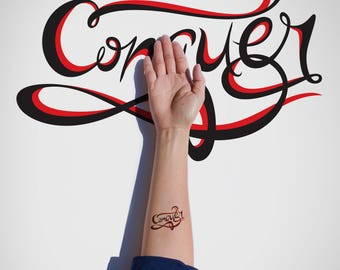 Conquer Temporary Tattoo/Typography Temporary Tattoo/Inspirational Temporary Tattoo/Lettering Temporary Tattoo/Motivational Flash Tattoo