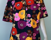 CLEARANCE, Vintage 1960s Polyester Blouse, Loud Colorful Flowers of Pink Yellow, Purple, Brown & Tomato Red, Great Stage or Theater Costume