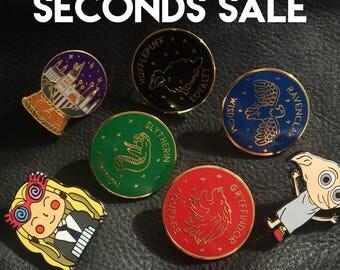 SECONDS Harry Potter Enamel Pin (Harry Potter, Ravenclaw, Hufflepuff, Gryffindor, Slytherin pins, Harry Potter pin, Hogwarts pin)