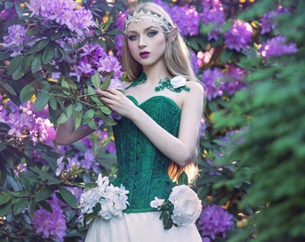 Made to measure - Corset overbust - dupioni silk - emerald green lace