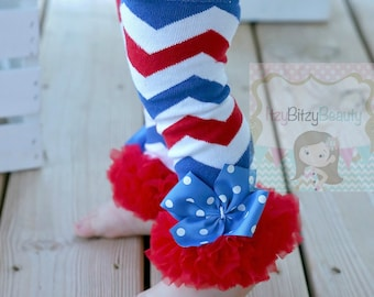 Fourth of July Chiffon Leg Warmers Patriotic Chevron Red White And Blue