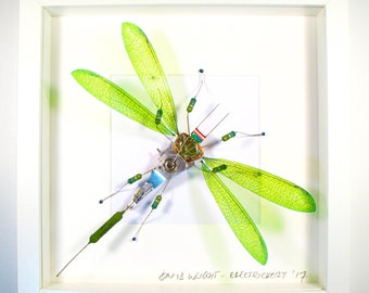 Faux Taxidermy Green Arthropod Electrickery Bug Framed Insect Art Damselfly Computer Chip Christmas Present Electronic Art Geek Gift For Him