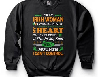 St Patrick's Day Funny Irish Woman Drinking Party Shenanigans Irish Pub Sweatshirt Funny Swetaer