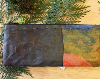 03 IN the REDWOODS - reclaimed canvas zipper pencil pouch