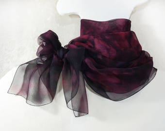 Hand Painted silk scarf Sheer Pure chiffon painted shawl scarf silk Long wrap luxury Burgundy Birthstone garnet birthday Wedding Fashion