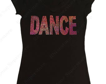 """Women's Sequence T-Shirt """" Pink AB Sequence Dance """" in S, M, L, 1x, 2x, 3x"""