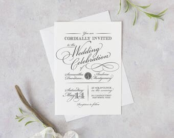 Printable or Printed Southern Elegance Wedding Invitation