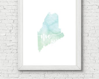 Maine State Printable - digital download, room decor, clean and simple, watercolor, minimalist art, usa state outline, state artwork