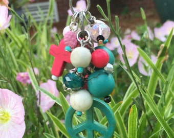rear view mirror car charm pink cross car decor beaded accessories turquoise peace sign women's charm beaded rear view mirror accessory pink