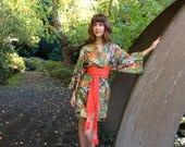 Silk Kimono Jacket & Pants Set / Vintage Haori Robe, Men Pajamas, Japanese Obi Belt Unisex / Made in Japan