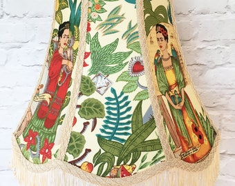 "Frida Kahlo lampshade - 18"" large lampshade - Frida's Garden parrots & monkeys - Frida Kahlo light - gift for artist - Frida Kahlo home"