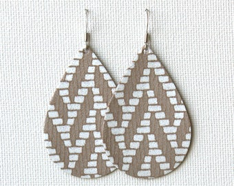 White Herringbone on Taupe Leather Tear Drop Earrings