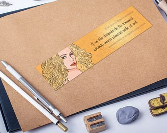 Shakira bookmark, illustrated, cartoon style, high quality print, printed bookmarks