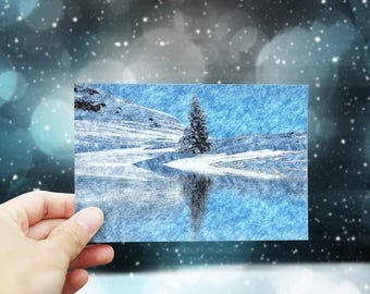 Christmas card printable, Christmas greeting card download, digital Christmas card, snow landscape #3, 4x6 Holiday printable card