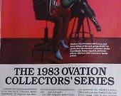 Nancy Wilson of Heart plays an Ovation Collectors guitar 1983 photo print Advertisement