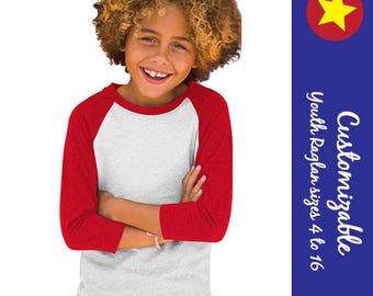 "Baseball Jersey Raglan is customizable - boy or girl - youth sizes - 3/4"" sleeves - cute tshirt"