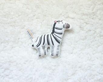 Organic Zebra Rattle / Pillow - Baby Toy / Baby Gift / Teething Toy / Plushie / Stuffed Animal / Organic Baby Toy