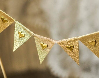 Gold Glitter Banner, Gold Hearts Banner, Gold Wedding Cake Topper, Gold Glitter Birthday, Gold Wedding Cake Decor, Gold Glitter Flags