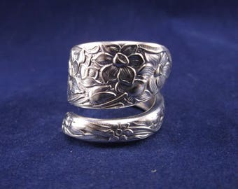 "Spoon Ring 1935 ""Narcissus"" Handmade Spoon Jewelry size 8.5 FREE SHIPPING"