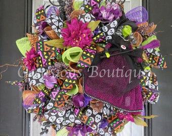 Halloween Wreath, Fall Wreath, Front door Wreath, Wreath for door, Deco Mesh Wreath, Ready to Ship