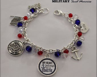Coast Guard Wife Patriotic Red white and blue Crystal Bracelet, Coast Guard Wife Charm Jewelry, Military Wife beaded bracelet, Coast Guard