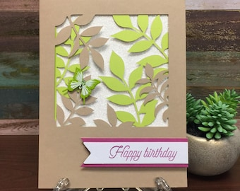 Handmade Card - Happy Birthday Butterfly Leaves (blank inside)