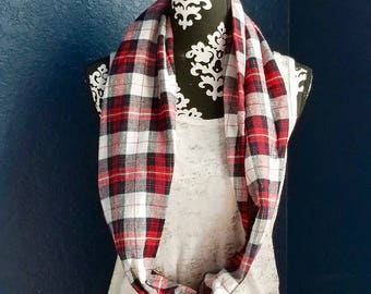 Ready To Ship, Plaid Infinity Scarf, Infinity Scarf, Winter Scarf, Christmas Gift, Flannel Infinity Scarf, Plaid