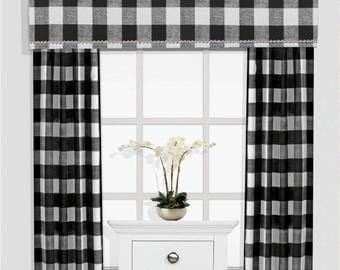 Buffalo Check Cornice Board Valance Box Window Treatment - Custom Curtain Window Box Black and White Buffalo Plaid