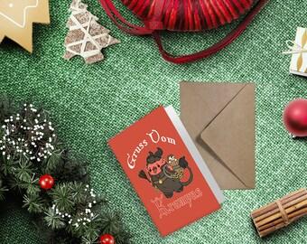 Kawaii Gruss Vom Krampus Christmas Greeting Card