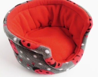 Guinea Pig Fleece Bed, Cuddle Cup, Cage Accessory, Guinea Pig Gift, Pet Supplies, Pygmy Hedgehog, Degu, Rat (Grey Ladybirds, Red)