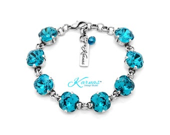 INDICOLITE 12mm Cushion Cut Pendant Bracelet Swarovski Crystal *Pick Finish and Size *Karnas Design Studio™ Free Shipping