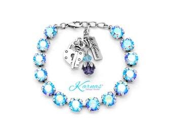LIGHT SAPPHIRE SHIMMER 8mm Charm Bracelet Made With Swarovski Crystal *Choose Finish & Size *Karnas Design Studio™ *Free Shipping*