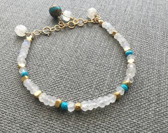 Gemstone bracelet Turquoise jewelry Moonstone bracelet Turquoise bracelet Gold fill jewelry Gift for her Cyber Monday December birthstone