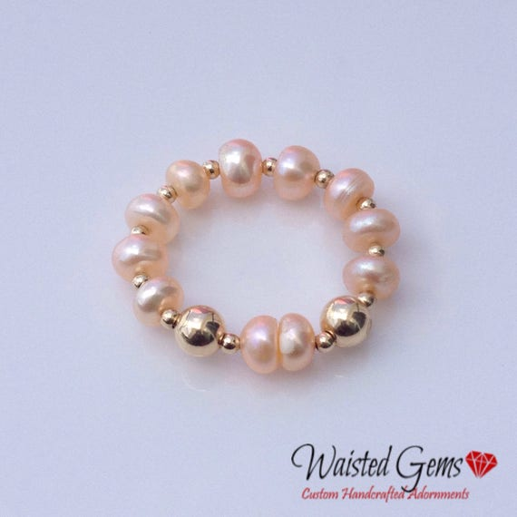 14k Gold and Pearl Ring, , Beaded Ring, Gift for her, Pearl Ring, Gold Ring, Valentines Gift, 925 Ring, 14k Ring, zmw93343.22