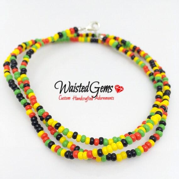 Rasta Waist Beads, body beads, belly chain, african waist beads, bikini, Body Jewelry zmw9991.00