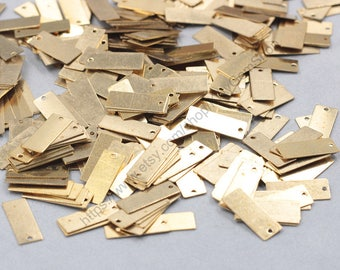 100Pcs, 18mm Raw Brass Blank Stamping Pendants Retangle Charms GY-S121308