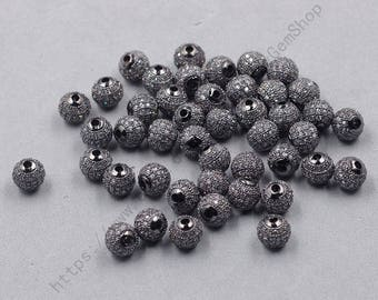 2Pcs, 8mm Pave White Zircon Beads With Black Gold Plated -- For Jewelry Making Craft Supplies Wholesale Charms YHA-336