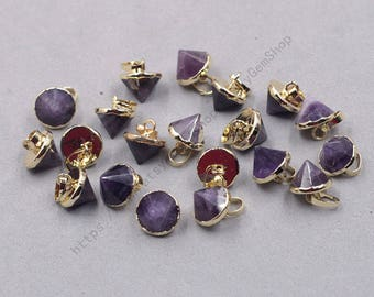 10mm Faceted Amethyst Small Tower Pendants -- With Electroplated Gold Edge Gemstone Charms Wholesale Supplies YHA-339
