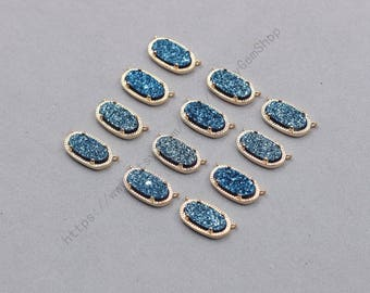 16mm Double Bails Blue Druzy Pendants -- With Electroplated Gold Edge Druzzy Drusy Geode Dainty Charms Supplies Handmade YHA-341