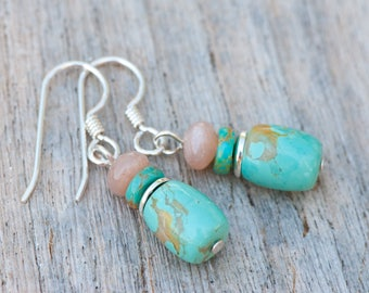 Turquoise and Moonstone Earrings, Natural Turquoise Earrings, Petite Earrings, Natural Stone, Sterling Silver, Rustic Turquoise Earrings
