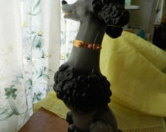 Mid century ceramic poodle / 15 inch tall poodle figurine / small black poodle statue