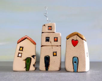 Housewarming gift, Home gifts, Little houses, Miniature houses, Ceramic houses, Small houses, Rustic home decor, Israel houses, Clay houses