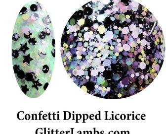 Confetti Dipped Licorice Nail Polish-Glitter Lambs Nail Polish-Glitter Nail Polish-Confetti Dipped Licorice Nail Polish-Glitter Nail Polish