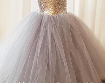 Ellen Gray Flower Girl Dress, Gray and Silver Sequin Flower Girl Dress, Princess Flower Girl Dress, Princess Birthday Dress
